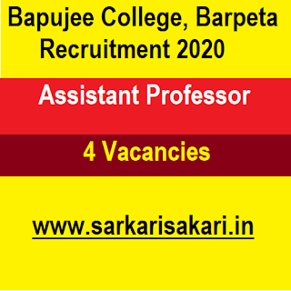 Bapujee College, Barpeta Recruitment 2020 - Apply For Assistant Professor Post