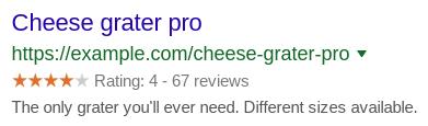 Exemple d'extraits d'avis dans la recherche Google