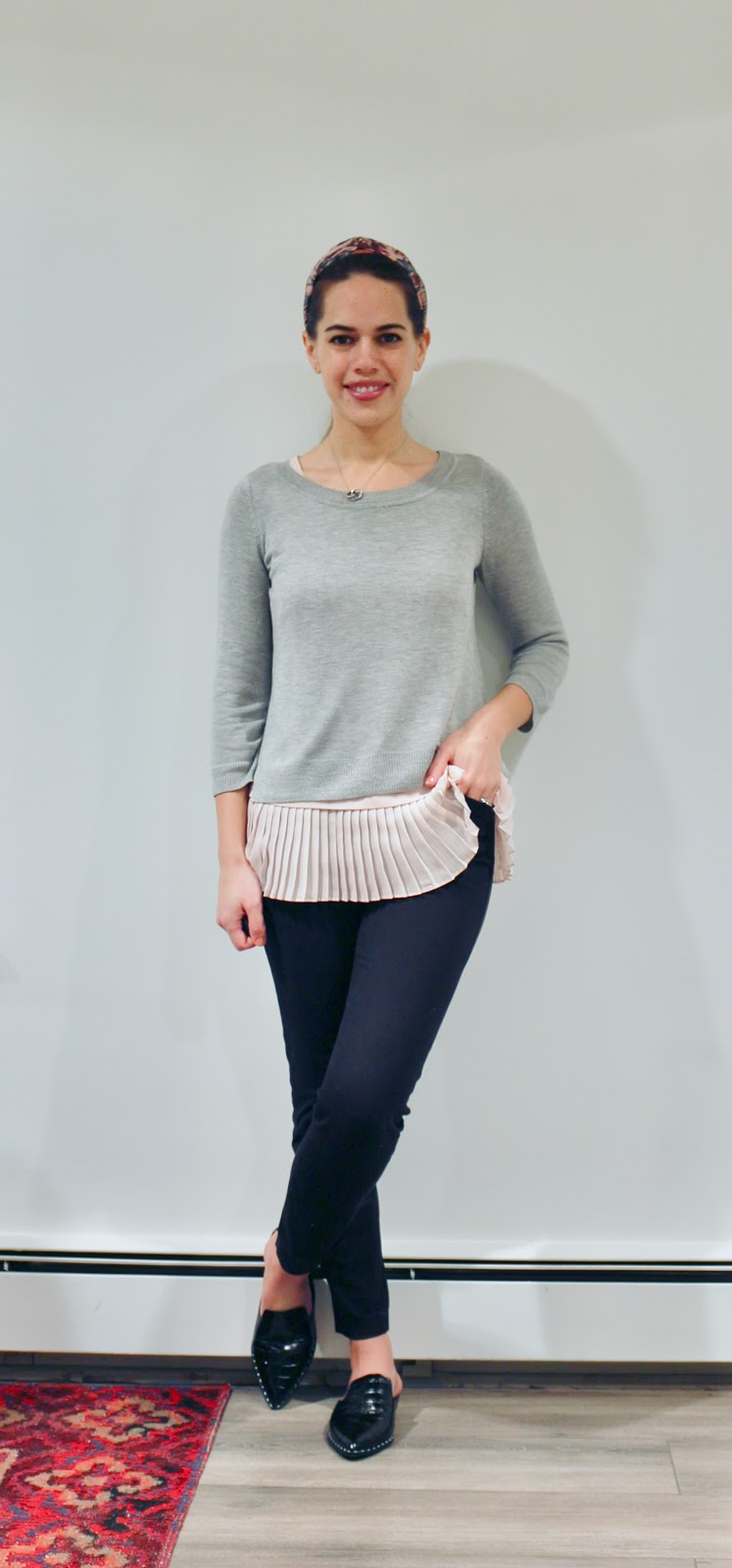 Jules in Flats - Peplum Pleated Tank with Cropped Sweater (Business Casual Winter Workwear on a Budget)