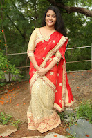 Akshara in Red Saree Golden Choli at LV Movie Makers Production No 1 Movie Opening ~  Exclusive 063.JPG