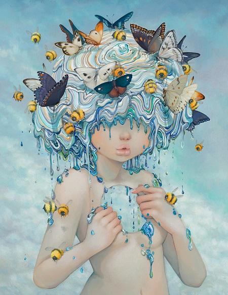 "Camilla d'Errico, ""Polina"" - oil on wood panel | obras de arte pop contemporaneo, pinturas, surrealismo pop, art pictures inspiration | art selecta"