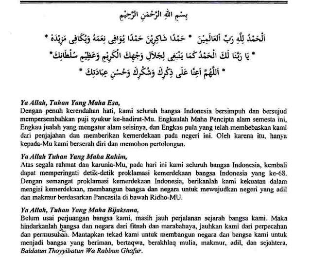Doa Upacara HUT Kemerdekaan RI 17 Agustus