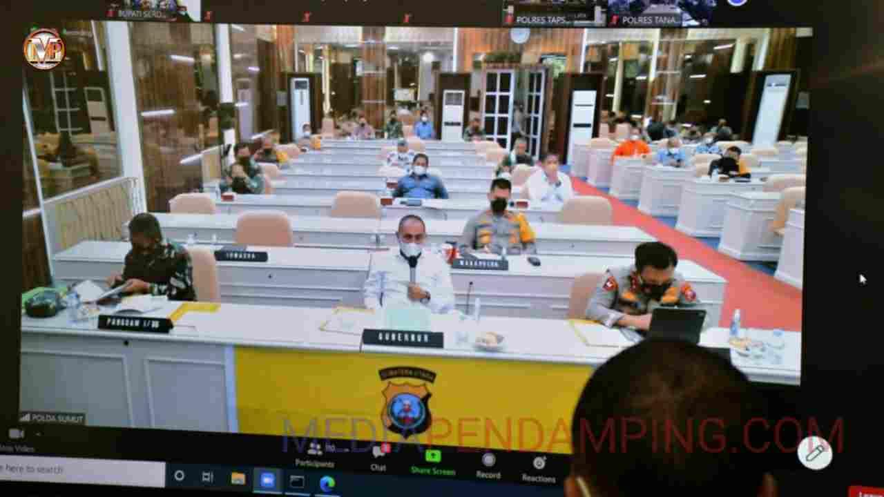 Bupati Sergai Ikuti Rapat Koordinasi Virtual Penanganan Covid-19