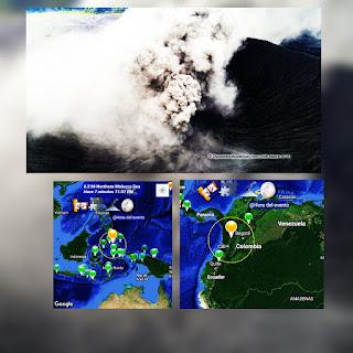 FOTOS: Una erupcion volcánica y 2 sismos fuertes en menos de 24 horas.