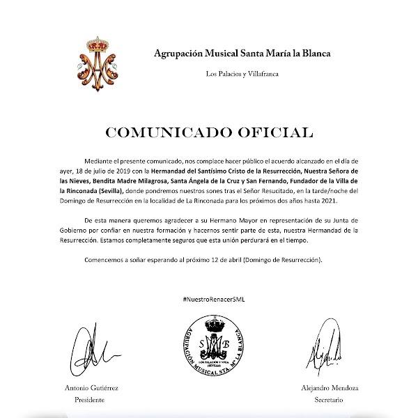 Agrupación Musical Santa María la Blanca acompañará a la Resurrección de La Rinconada en los dos próximos años