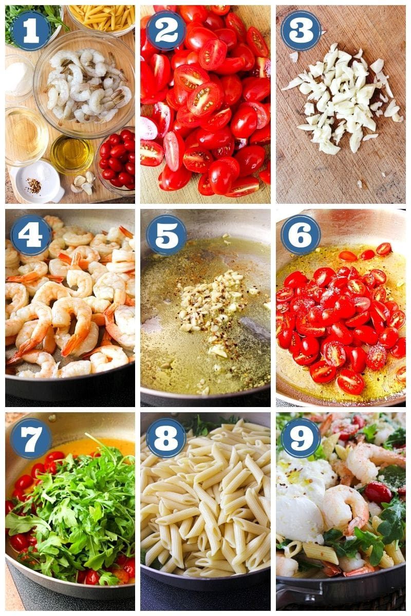 Collage of images of Shrimp, Arugula, and Burrata Pasta being made.