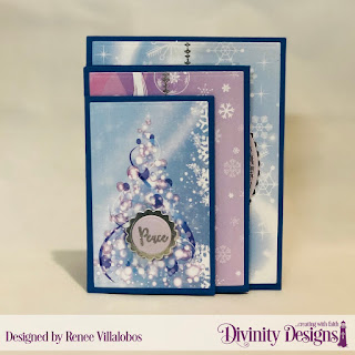 Custom Dies: Four Panel Card with Layers, Scalloped Circles, Scalloped Squares, Paper Collection: Christmas 2019, Stamp/Die Duos: Deer Ornament