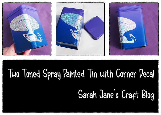 Two Toned Spray Painted Tin with Corner Decal