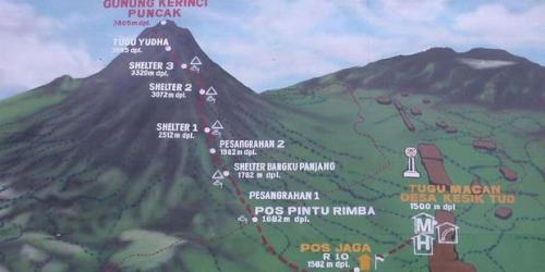 jalur pendakian gunung kerinci gunung berapi tertinggi di Indonesia