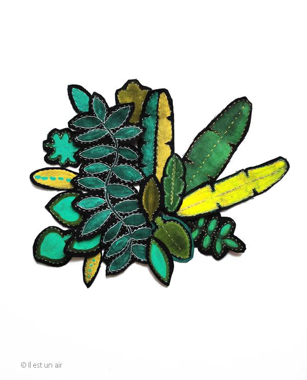 Feuilles tropicales peintes et brodées