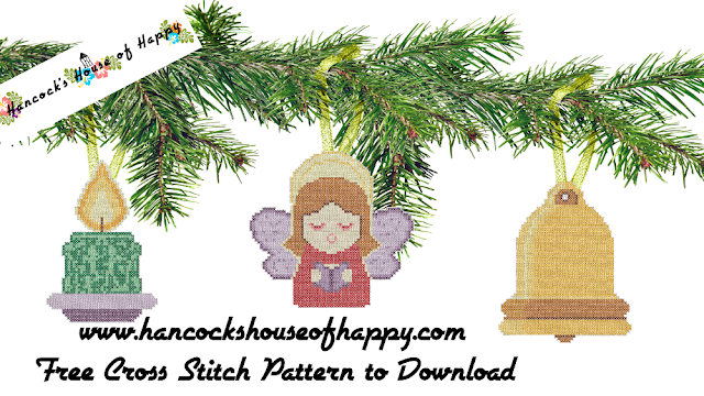 Traditional Christmas Cross Stitch Patterns for Angel, Candle, and Bell Cross Stitch Christmas Tree Decorations