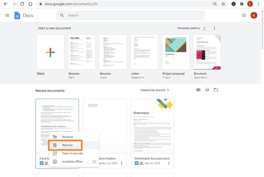 cara menghapus google docs