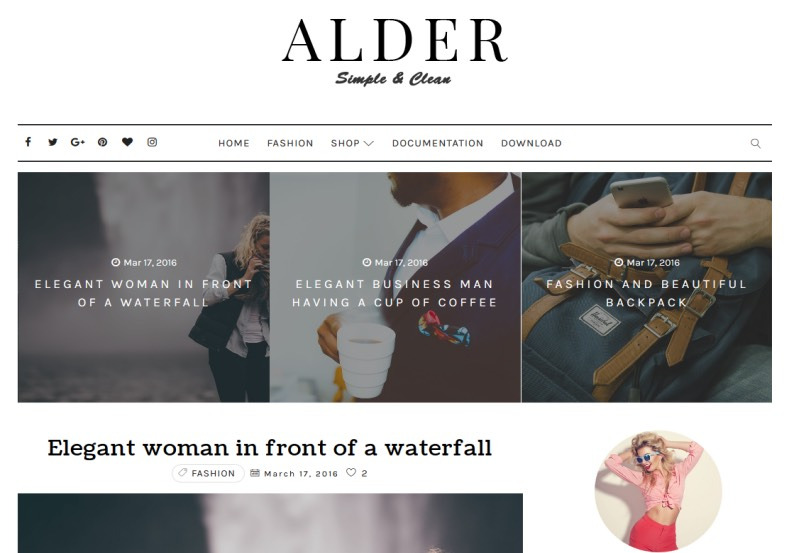 Alder free customizable blogger templates