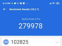 Hasil Score Antutu Benchmarks Xiaomi Redmi Note 9 Pro