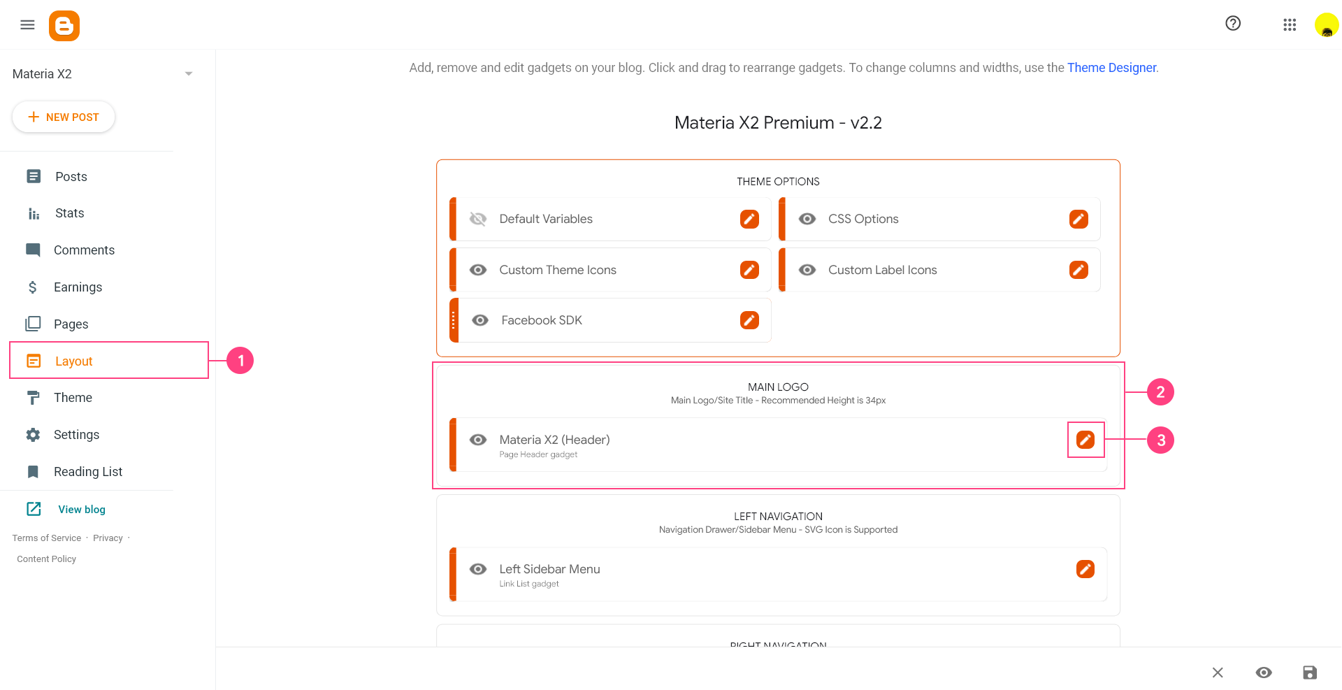 Cara Mengatur Judul dan Logo Blog/Website Template Materia X2