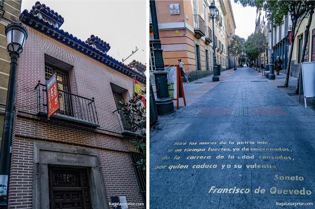 Casa de Lope de Vega em Madri e uma rua do Barrio de las Letras