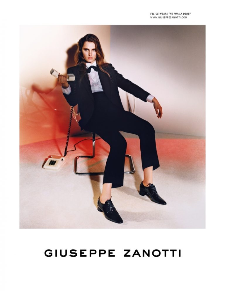 Felice Noordhoff suits up in Giuseppe Zanotti fall-winter 2019 campaign