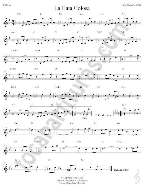 La Gata Golosa Pasillo de Fulgencio García Partitura Fácil con Acordes La Gata Golosa Easy Sheet Music with Chords