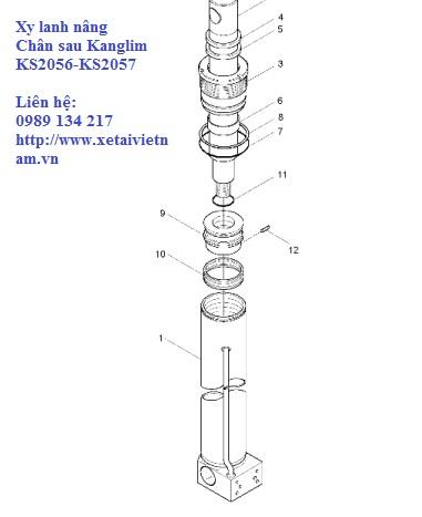 xy lanh nâng và hạ chân sau xe tải cẩu Kanglim 7 tấn KS2056-KS2057-H1039630R5