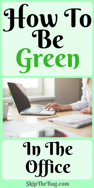 Ways to be environmentally friendly at work and make your office more green. Tips to reduce paper waste, lunches and office potlucks.