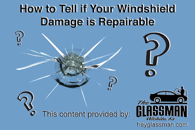 "Title photo showing windshield chip says, ""How to Tell if Your Windshield Damage is Repairable."""