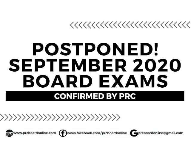 Postponed! September 2020 PRC Board Exams