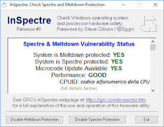 InSpectre - Protezione da Spectre e Meltdown
