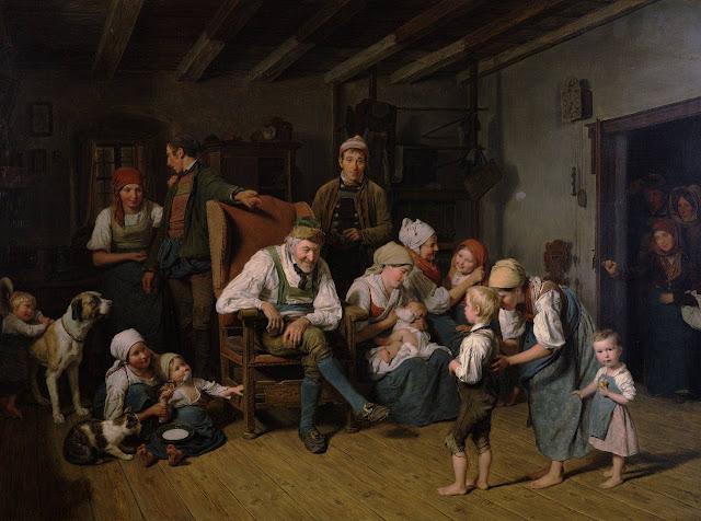 O aniversário do avô. Ferdinand Georg Waldmüller (1793 - 1865). Coleção particular.