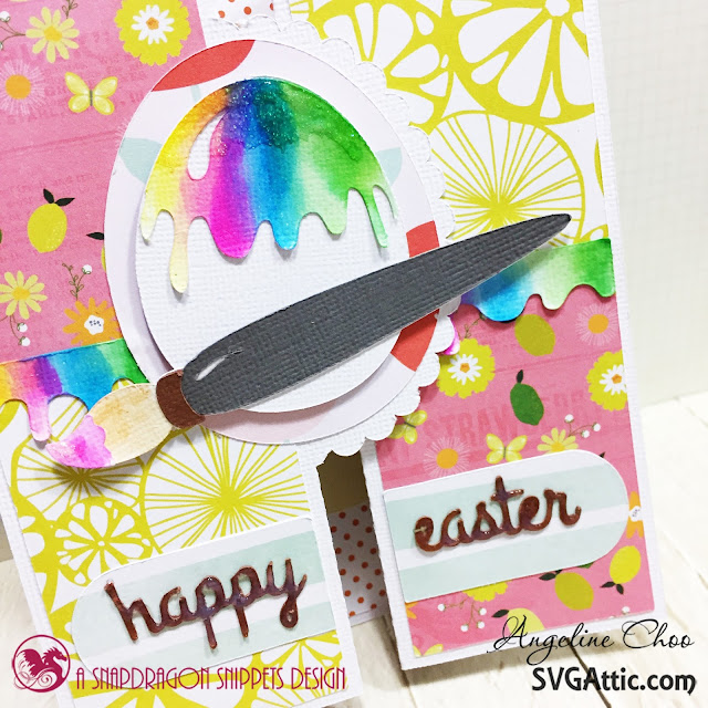 ScrappyScrappy: Happy Easter Card with SVG Attic #svgattic #scrappyscrappy #happyeaster #easter #card #cardmaking #papercraft #bifoldcard #watercolor