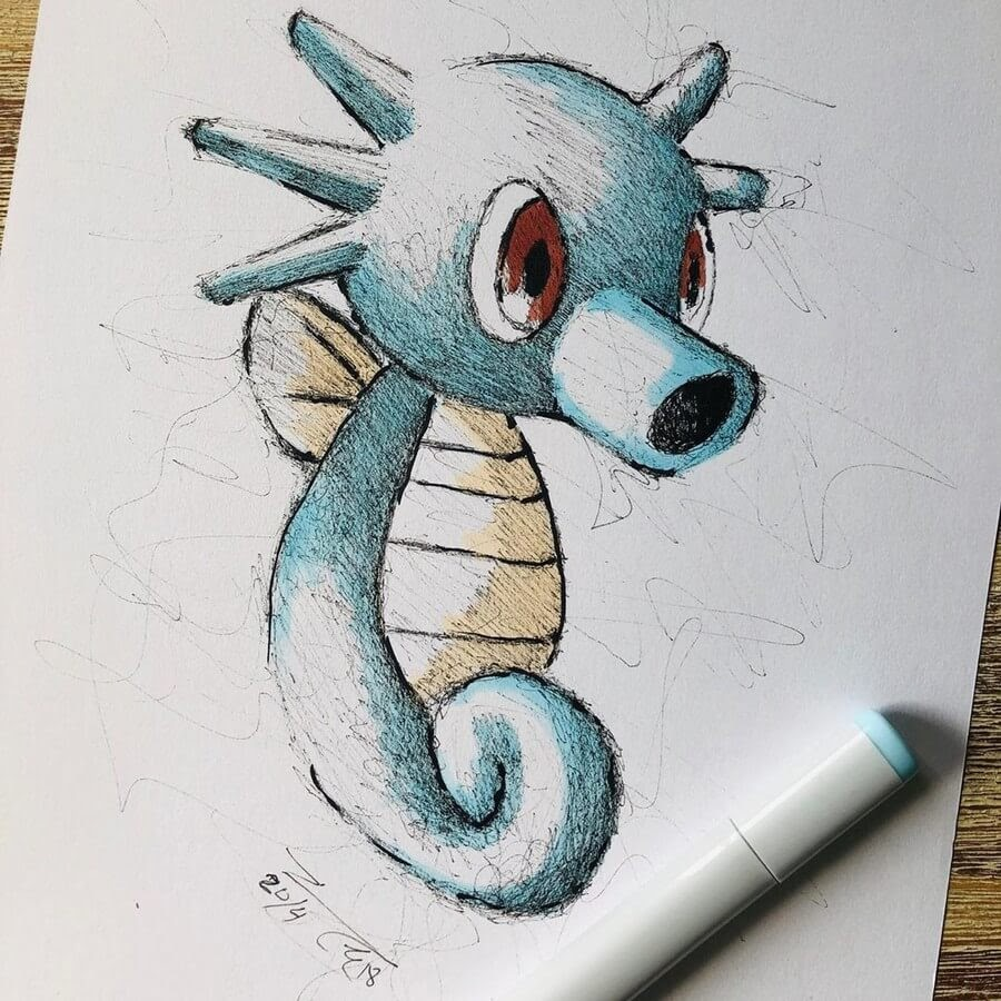 07-Horsea-Pokemongo-Pokemon-Jimmy-Mätlik-Fantasy-Character-Scribble-Drawings-www-designstack-co