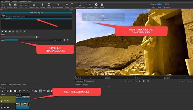 trasparenza del watermark aggiunta con filtro Opacità