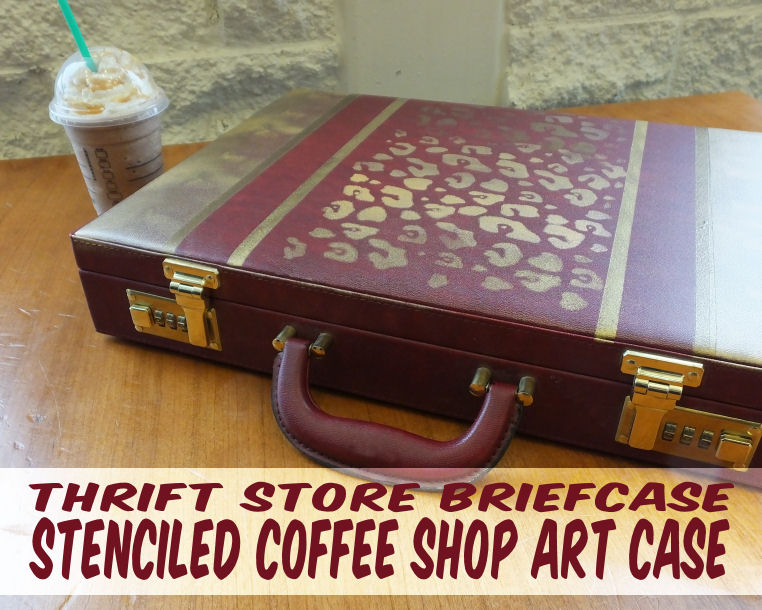 How to stencil a stylish case for art supplies using FolkArt Multi-Surface paints #plaidcraft