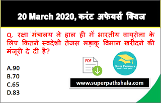 Daily Current Affairs Quiz in Hindi 20 March 2020