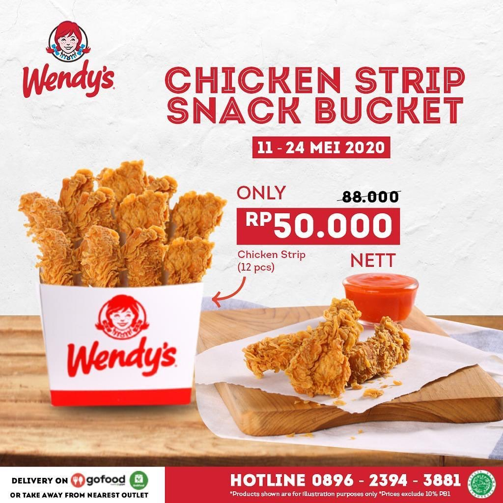 Promo Wendys Paket 12 Pcs Chicken Strip Snack Bucket Hanya Rp 50.000 Net