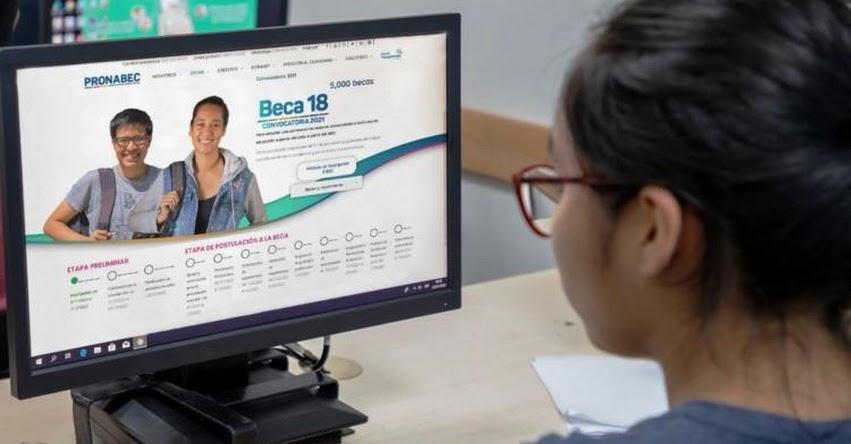 BECA 18: Postulación al concurso 2022 será gratuita y por internet, informó el PRONABEC
