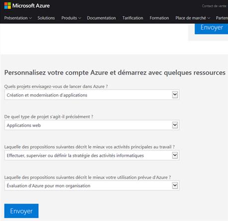 Azure Cloud - Personnalisation du compte - Options