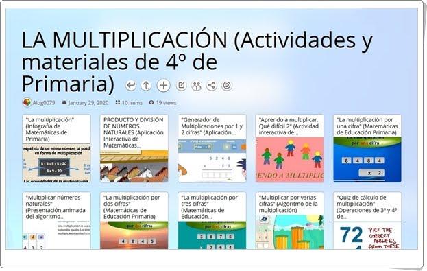10 actividades y materiales sobre LA MULTIPLICACIÓN en 4º de Primaria