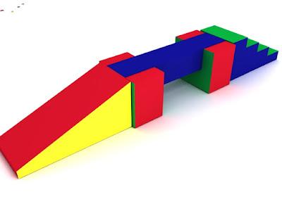 set barra 5 piezas estimulacion juego espuma colores azul amarillo rojo rampa escalera piso