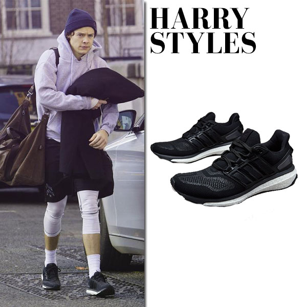 Harry Styles in black Adidas Energy Boost sneakers celebrity casual mens fashion