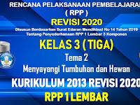 RPP 1 Lembar Kelas 3 Tema 2 SD/MI Kurikulum 2013 Revisi 2020 Tahun Pelajaran 2020 - 2021