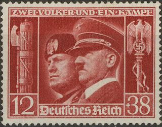Stamp Germany 1941 WWII Adolf Mussolini Italy Berlin Rome