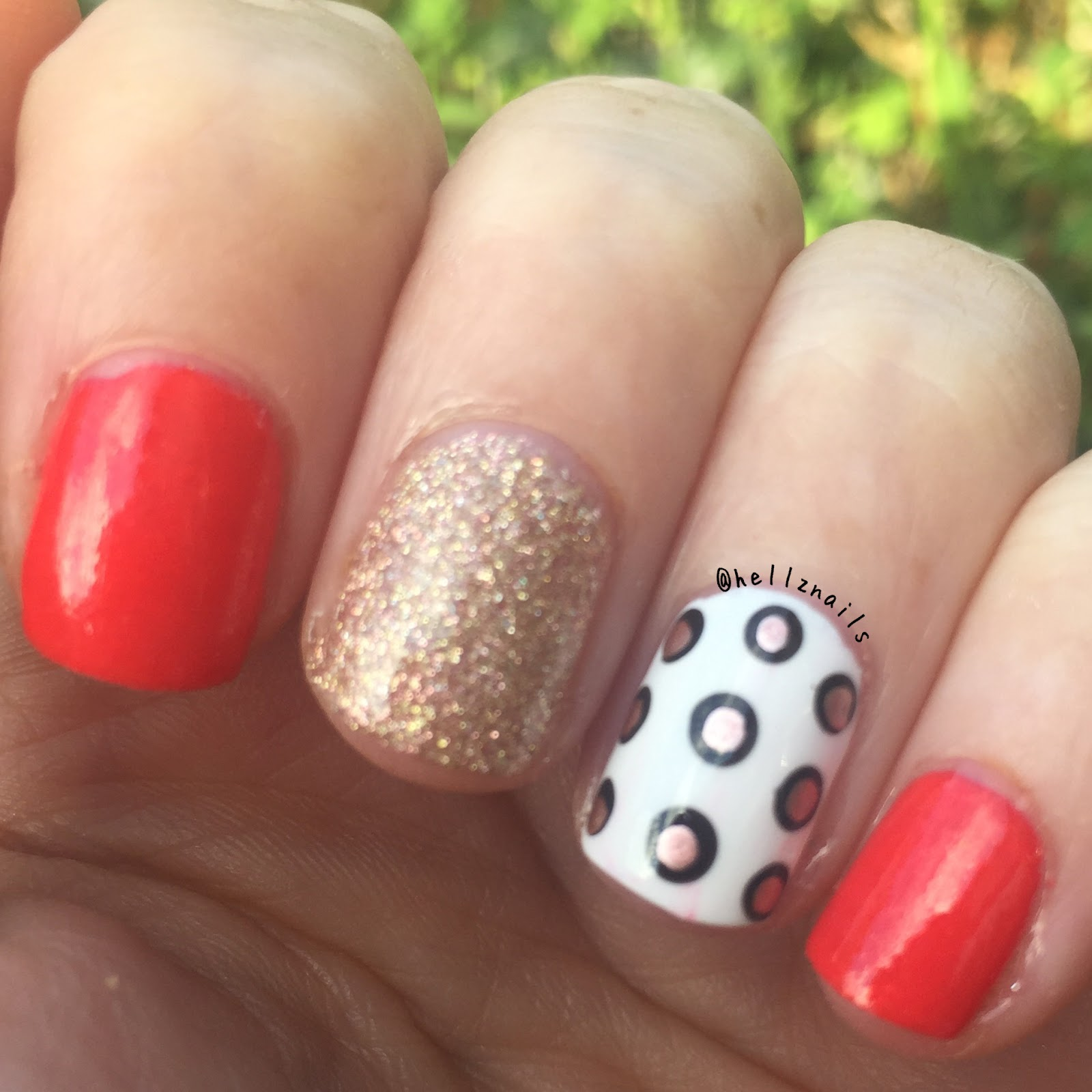 Summer skittlette polka dot nail art hellz nails dotticure skittlette nail art models own carat coral gosh frosted gold china glaze prinsesfo Gallery