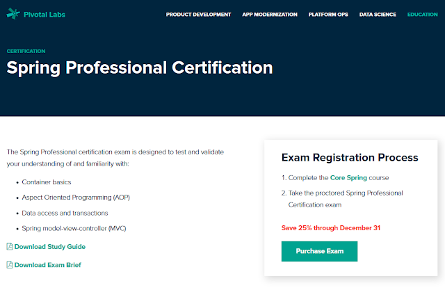 How to purchase or enroll on Spring Professional certification