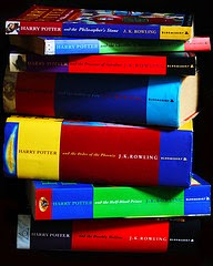 Stack of hardcover Harry Potter books