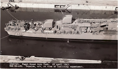 1140-43. Puget Sound Navy Yard. 25 April 1943. USS Halford DD-480. Topside, aft, at time of inclining experiment.