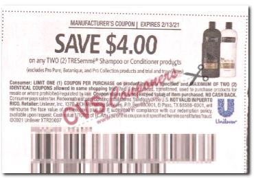 "$4.00/2 Tresemme Shampoo Or Conditioner Coupon from ""RetailMeNot"" insert week of 1/31/21."