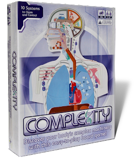 The cover box for the game, which contains art representing a stylized schematic of biological systems in the head and upper torso of a human body.