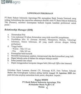 Loker Terbaru Medan SMA SMK D3 S1 Agustus 2020 di PT BRI Agro
