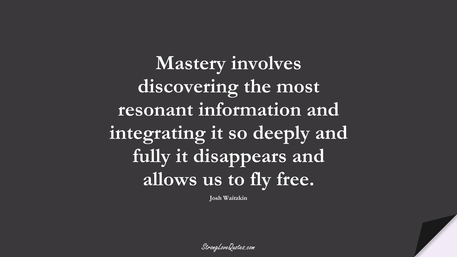 Mastery involves discovering the most resonant information and integrating it so deeply and fully it disappears and allows us to fly free. (Josh Waitzkin);  #LearningQuotes
