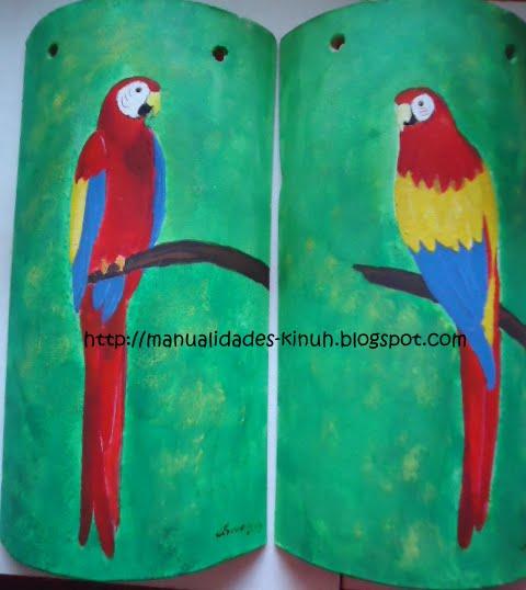 Manualides artcraft handcraft tejas de barro guacamayas - Pintura para tejas ...